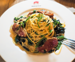 Spaghetti-with-Smoked-Duck-and-Spinach